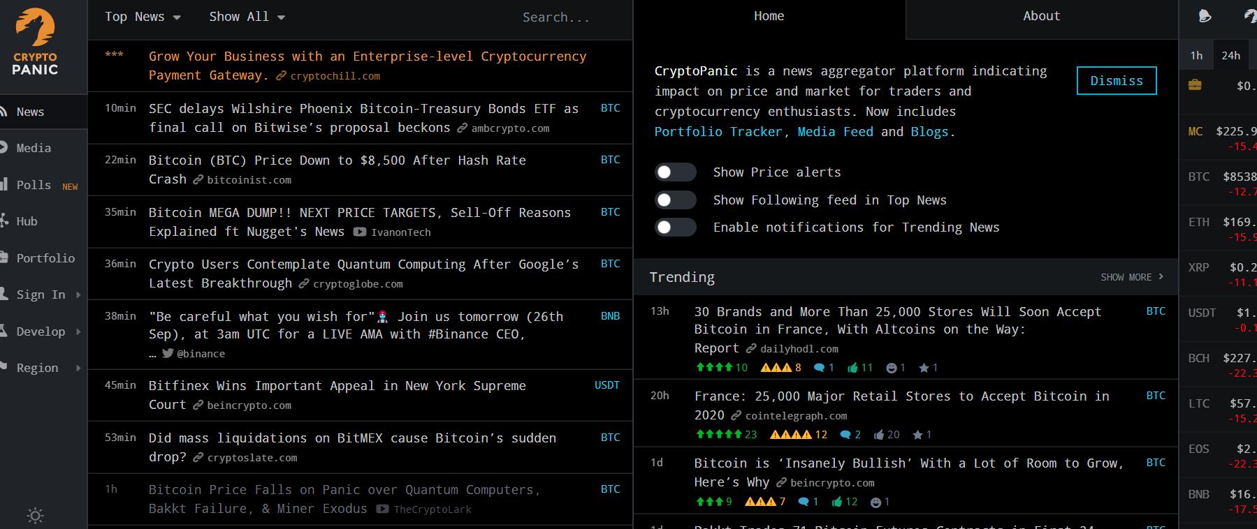 加密货币全球新闻舆情监控网站cryptopanic
